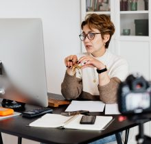 Woman participating in an online meeting