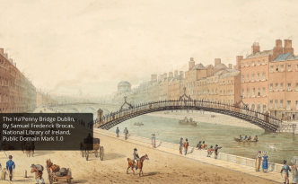 painting of the Ha'Penny Bridge Dublin to illustrate the' Europe and me implementation'