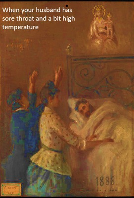 Two women attending a man in bed and appealing to Sansovino's Virgin and Child. Oil painting by an Italian painter, 1888.   Wellcome Collection -CC BY