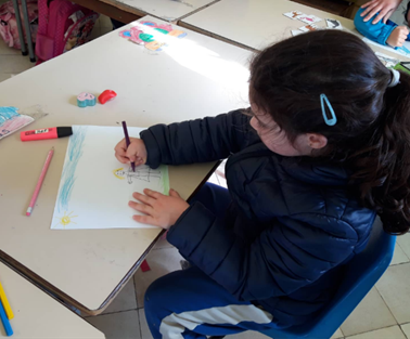 A student using her creativity to draw a Rainy Day.
